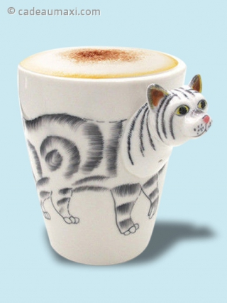 Tasse chat avec queue en 3D